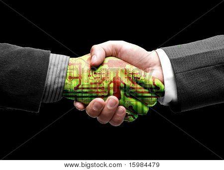 Hand-Shake mit Technologie