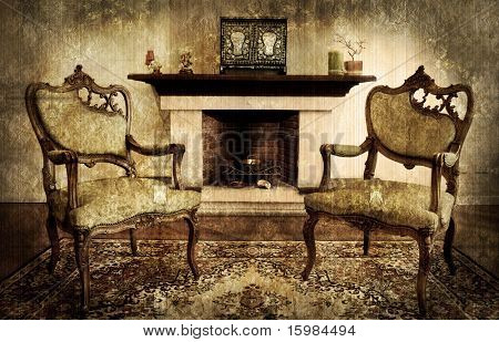 old style living room and chimney