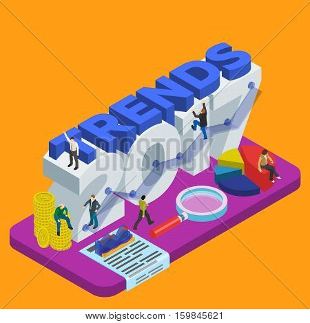 Infographic concept 2017 year. Flat 3d isometric banner. New trends in idea generation. Plans and expectations. Magnifying glass graph diagram step up options. People at work. Vector illustration
