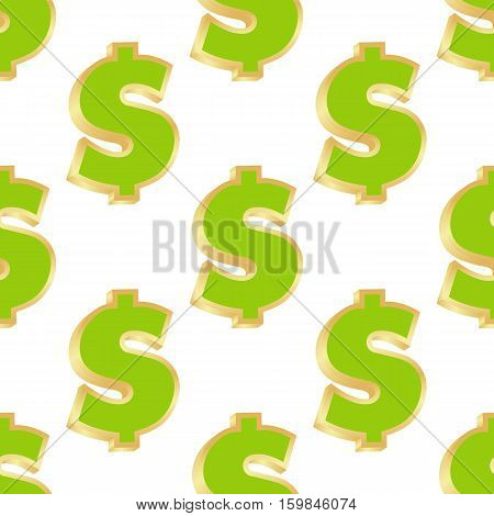 Seamless pattern of gold dollar signs on white background. Vector illustration.