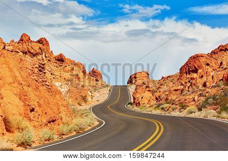 Winding Road In Valley Of The Fire National Park In Usa