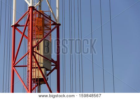 Elevator Lift On Radio Transmitter Tower Liblice, Czech Republic
