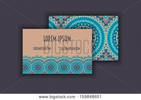 Vector Vintage Visiting Card Set. Floral Mandala Pattern And Ornaments. Oriental Design Layout. Isla