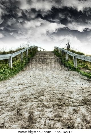 Dirt road and dramatic skies HDR