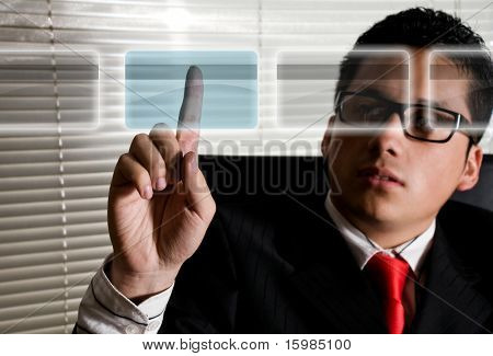 Business man at office choosing credit card for online payment