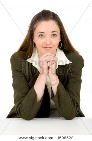 Confident Business Woman On A Table