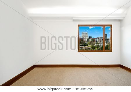 Empty big new room with a beautiful cityscape view