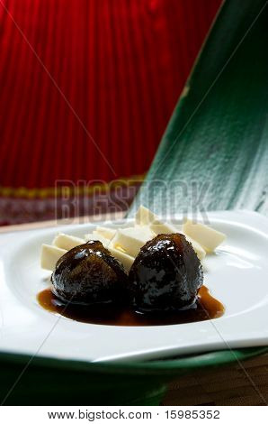 Ecuadorian food series: typical dessert of figs with honey and cheese