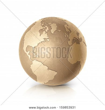 Golden globe 3D illustration europe and africa map on white background
