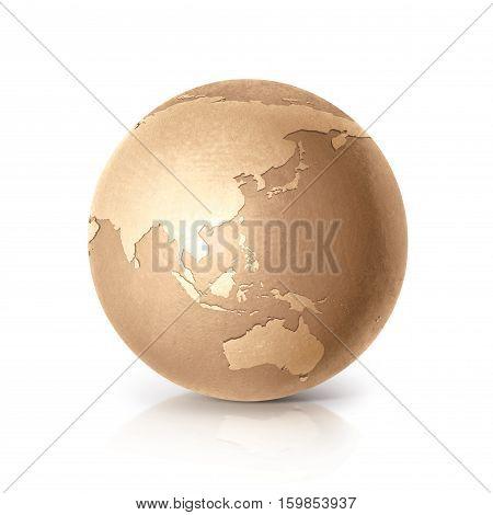 Golden globe 3D illustration Asia & Australia map on white background