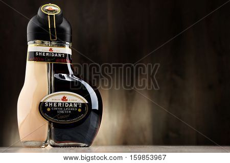 POZNAN POLAND - DEC 2 2016: Sheridan's is a brand of liqueur produced by Thomas Sheridan & Sons. It consists of coffee and whiskey flavors and white liqueur of milk white chocolate.