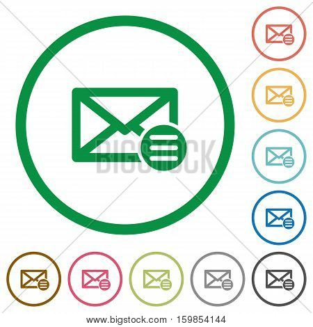 Mail options flat color icons in round outlines