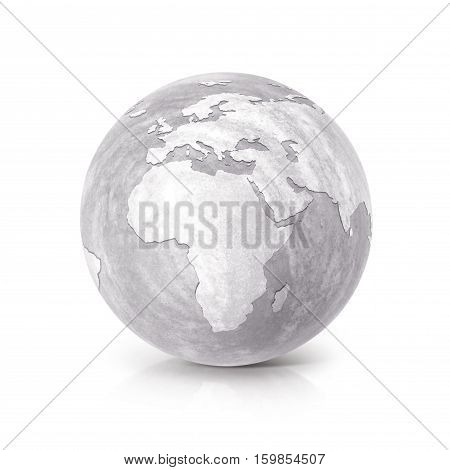 Cement globe 3D illustration europe and africa map on white background