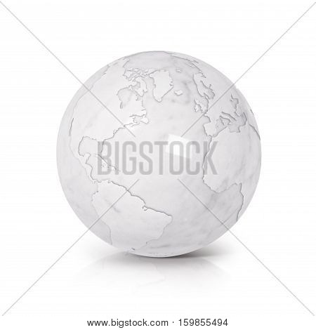 White Marble globe 3D illustration North and South America map on white background