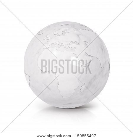 White Marble globe 3D illustration europe and africa map on white background