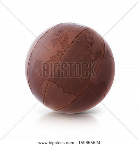 Leather globe 3D illustration North and South America map on white background