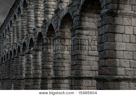 Famous aqueduct from ancient Segovia, Spain