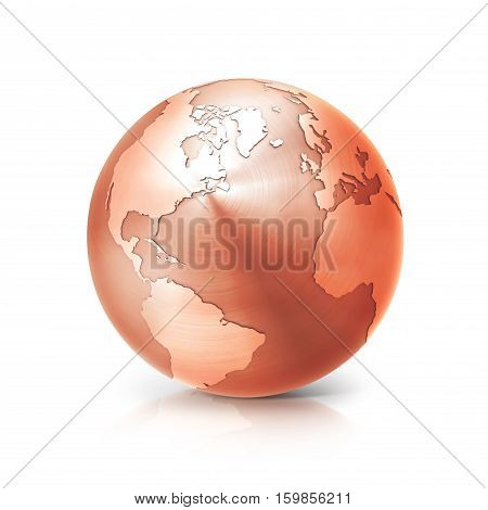 copper globe 3D illustration north and south america map on white background