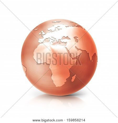 copper globe 3D illustration europe and africa map on white background
