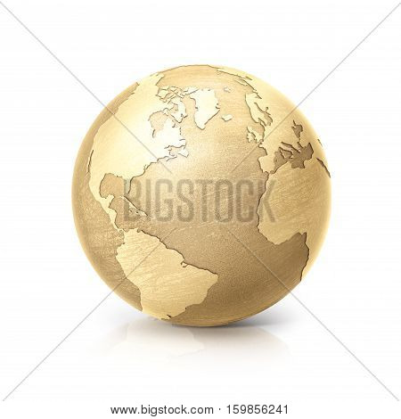 brass globe 3D illustration north and south america map on white background