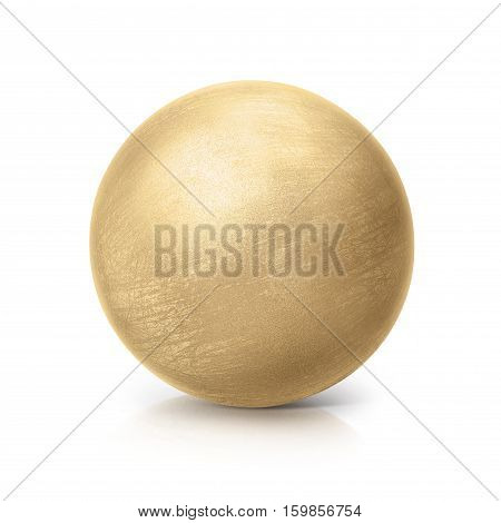 brass ball 3D illustration on white background