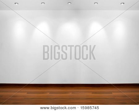 Empty white wall with 5 spot lights and wooden floor