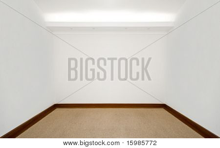 Empty white room with carpeted floor