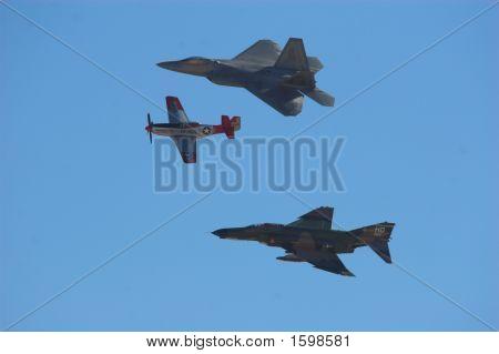P-51 mustang f-4 Phantom and an F-22