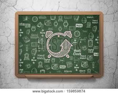 Timeline concept: Chalk Pink Alarm Clock icon on School board background with  Hand Drawing Time Icons, 3D Rendering
