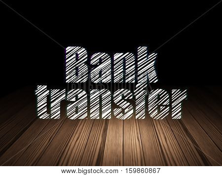 Money concept: Glowing text Bank Transfer in grunge dark room with Wooden Floor, black background