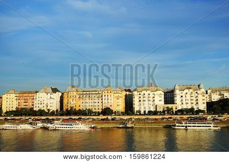 View of the Pest side of Budapest Hungary with the Danube River in the foreground