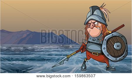cartoon medieval soldier in armor is on a frozen lake
