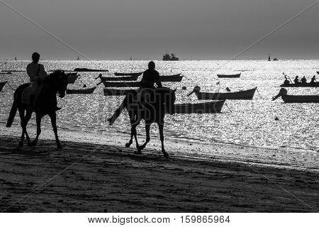 Riding on the beach.  horses running along the beach