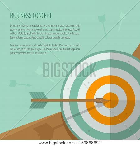 Target and arrow. Archery darts game. Targeting. The exact shot on target. Business concept goal achievement success winning. Flat style vector illustration.
