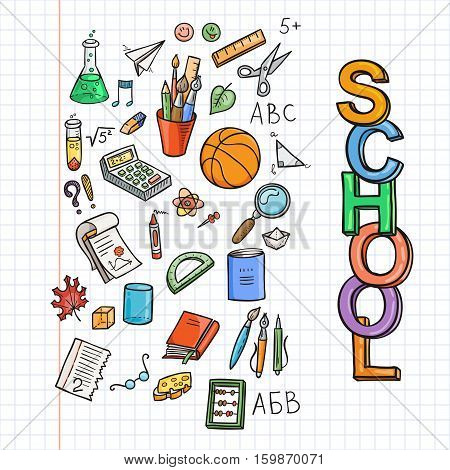 Doodle school icon set. Education supplies schoolbook, notebook, pen, pencil, stationary, training aids, ball, etc. Vector collection