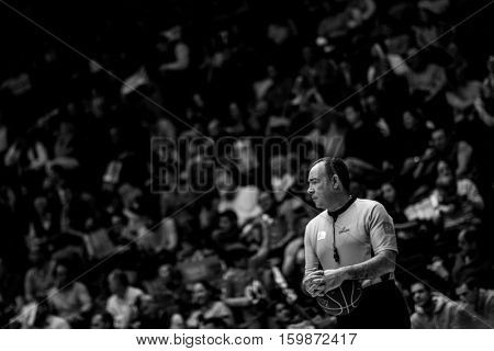 VALENCIA, SPAIN - DECEMBER 3: Referee during spanish league match between Valencia Basket and Bilbao Basket at Fonteta Stadium on December 3, 2016 in Valencia, Spain