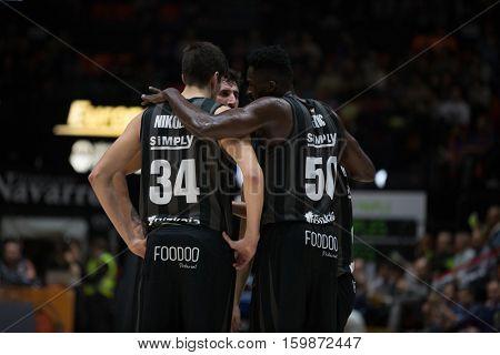 VALENCIA, SPAIN - DECEMBER 3: Bilbao team during spanish league match between Valencia Basket and Bilbao Basket at Fonteta Stadium on December 3, 2016 in Valencia, Spain