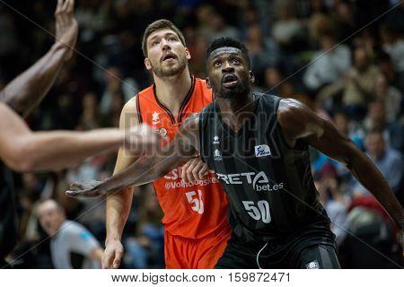 VALENCIA, SPAIN - DECEMBER 3: 55 Kravtsov, 50 Eric during spanish league match between Valencia Basket and Bilbao Basket at Fonteta Stadium on December 3, 2016 in Valencia, Spain