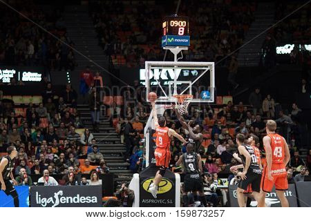 VALENCIA, SPAIN - DECEMBER 3: Sam Van Rossom with ball during spanish league match between Valencia Basket and Bilbao Basket at Fonteta Stadium on December 3, 2016 in Valencia, Spain