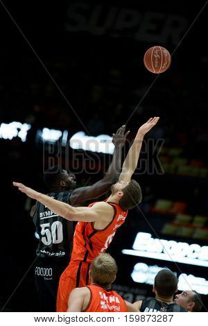 VALENCIA, SPAIN - DECEMBER 3: 50 Eric, Kravtsov during spanish league match between Valencia Basket and Bilbao Basket at Fonteta Stadium on December 3, 2016 in Valencia, Spain