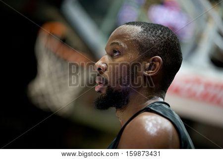 VALENCIA, SPAIN - DECEMBER 3: Jonathan Tabu during spanish league match between Valencia Basket and Bilbao Basket at Fonteta Stadium on December 3, 2016 in Valencia, Spain
