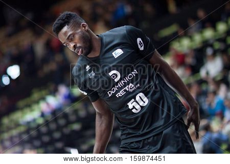 VALENCIA, SPAIN - DECEMBER 3: Micheal Eric during spanish league match between Valencia Basket and Bilbao Basket at Fonteta Stadium on December 3, 2016 in Valencia, Spain