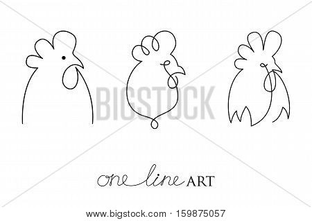 Vector set with rooster or cock head profile in black isolated on white background. Silhouette of cockerel in minimalism or one line art style. Primitive art for stylized tattoo and simple decor.