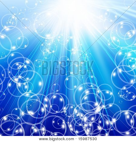 snowflakes and stars and soap-bubble descending on a path of blue light