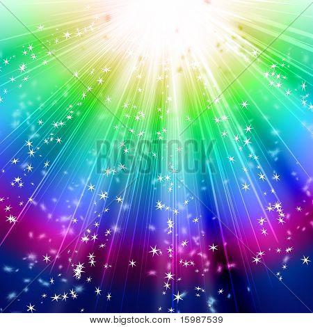 Schneeflocken und Sternen absteigend auf den Pfad der schillerndes Licht