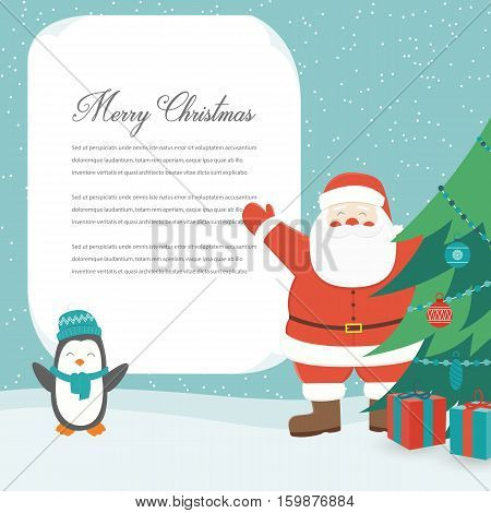 Christmas Card with Santa Claus. Template with copy space. Vector illustration