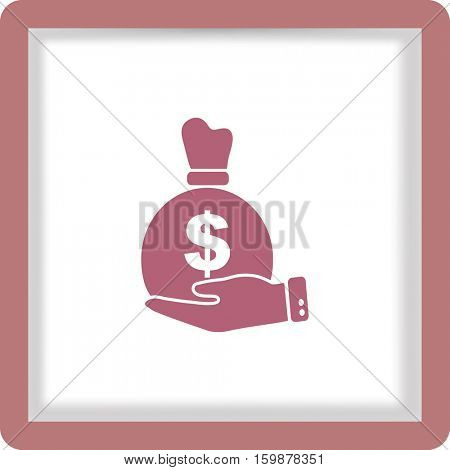 Flat icon. Bag with money in the palm of your hand.