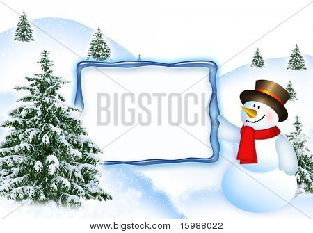 Abstract Christmas light blue background. Fir-trees on to snow and merry snow man, congratulating on Christmas and New Year