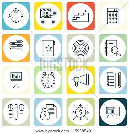 Set Of 16 Project Management Icons. Can Be Used For Web, Mobile, UI And Infographic Design. Includes Elements Such As Presentation, Statistic, Schedule And More.