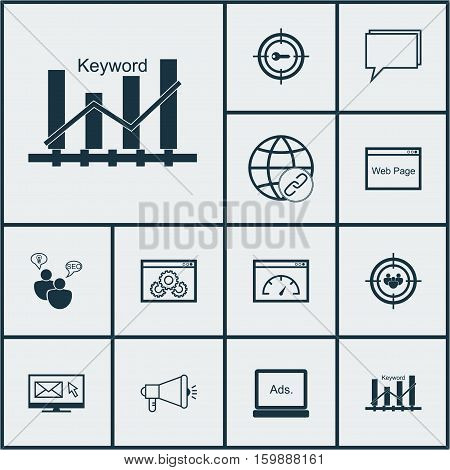 Set Of 12 Advertising Icons. Can Be Used For Web, Mobile, UI And Infographic Design. Includes Elements Such As Viral, Speed, Consulting And More.